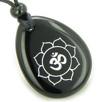 Magic OM and Lotus Sun Circle Amulet Black Agate Wish Stone Pendant Necklace