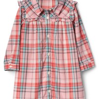 Plaid ruffle bib shirtdress | Gap