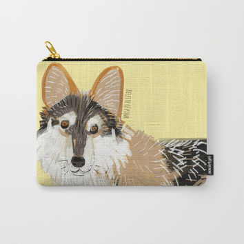 Wolves of the World: Mexican Wolf (Canis lupus baileyi) Carry-All Pouch by Belette Le Pink