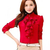 Voguegirl Women Career Fitted Lace Tops Ruffle High Neck Long Sleeve Shirt Blouse