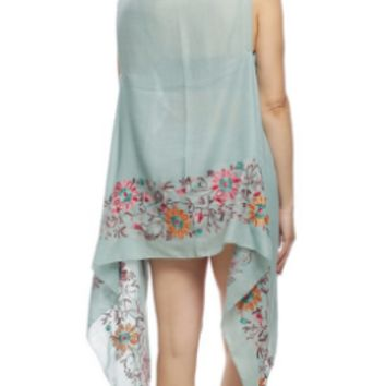 Floral Embroidered Vest in Mint