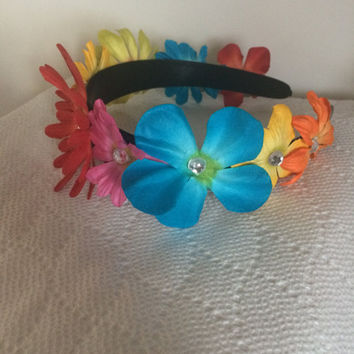 Floral Headband, multi color flowers with rhinestone center