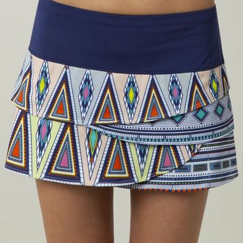 Lucky In Love Women's Tennis Aztec Collection- Aztec Scallop Border Skirt : LIL- CB20 | PinksandGreens.com