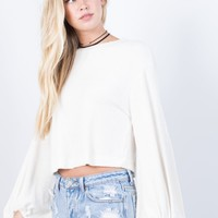 Gather Around Crop Sweater