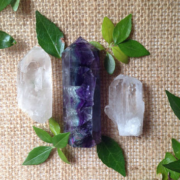 Fluorite Crystal Set Fluorite Tower Healing Crystals and Stones Crystal Kit Stone Set Healing Grid Beginner Stones