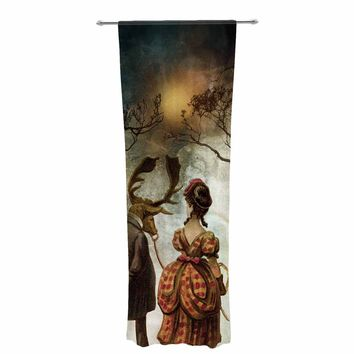 "Pia Schneider ""AUTUMNAL VINTAGE COUPLE WALK"" Multicolor White People Vintage Illustration Mixed Media Decorative Sheer Curtain"