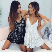 Stylish Sexy V-neck Backless Lace Shorts Jumpsuit [10016879245]