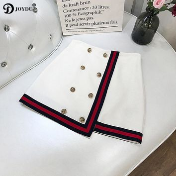 Runway Brand Women Skirts Striped Patchwork Chic Mini Pencil Skirt 2018 New Spring Gold Double Breasted Best Quality jupe femme
