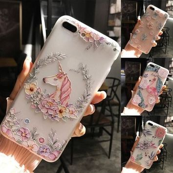 Beautiful Cartoons Unicorn Embossed Flowers Soft Phone Case Flamingo Mobile Shells Protective Cover for IPhone 7 6 6s Plus 8  8p