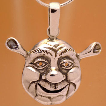 Cool Solid Sterling Silver Funny Design Shrek Pendant 925 Hallmark Impressive Amazing Marvelous Incredible Oxidized Handmade Handcrafted