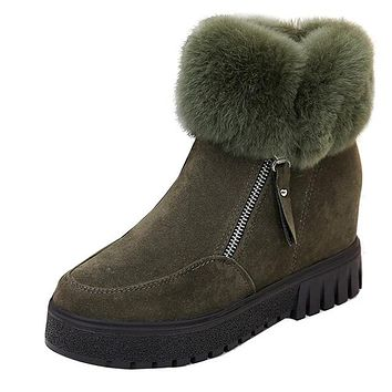 Women Winter increased Snow Boots Plush Zipper Platform Ankle Boots