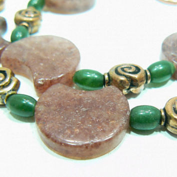 Muscovite BC Jade and copper necklace bracelet by 3cedarsjewelry
