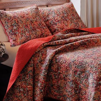 Bohemia Red Floral Quilt Set