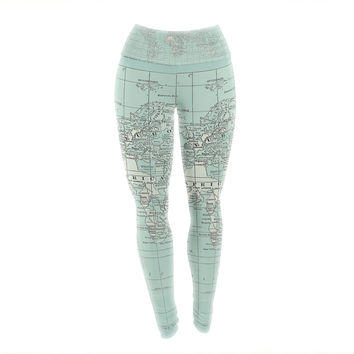 "Catherine Holcombe ""The Old World"" Blue Teal Yoga Leggings"