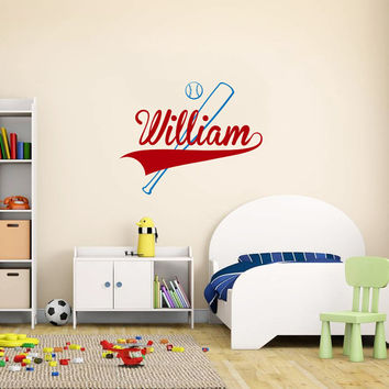 Wall Decal Name Boys Vinyl Sticker Personalized Custom Name Baseball Decals Decor Sports Mural Kids Children Teen Name Boys Room AN609