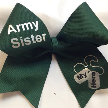 Army Sister Cheer Bow (Customizable)