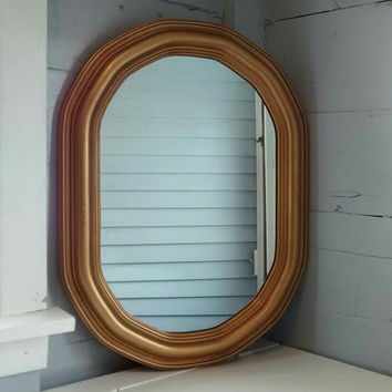 Vintage, Mirror, Oval, Octagon, Gold/Brass Color, Wall Mirror, Framed Mirror
