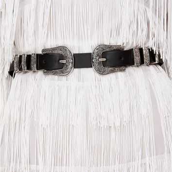 AVRIL BLACK WESTERN DOUBLE BUCKLE BELT