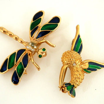 Hummingbird & Dragonfly Pins with Blue and Green Enameled Wings
