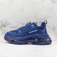 Balenciaga Triple S Clear Sole Blue Trainers Oversized Multimaterial Sneakers With Air Bubble Inside The Sole - Best Online Sale