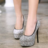 Low Cut Platform Round Toe Stiletto High Heels Prom Shoes