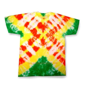 Tie Dye Shirt Yellow Orange and Green