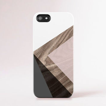 iPhone 6 Case iPhone 5 Case Wood Print Geometric Modern iPhone Case Pantone Color Pastel Pink, Grey, White, Black Color Block, Minimal Chic