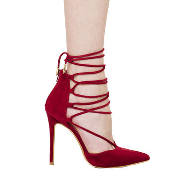 Lace Up Corset Pointed Toe Pumps - Wine