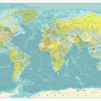 Big World Map.  Huge Map of the World.  6xft x 10ft map.  Large World Map