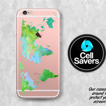 World Map Clear iPhone 6s Case iPhone 6 Case iPhone 6 Plus Case iPhone 6s Plus iPhone 5c Case iPhone 5 Clear Case Watercolor Map Green Cute