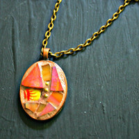 Etsy Mosaic Pendant - Kathryn - Art Pendant, Orange and Yellow, Copper Pendant, Stained Glass, Broken China, Mosaic Pendant, For Her