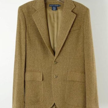 RALPH LAUREN Brown Wool Blend Herringbone Jacket Blazer Size 8 M
