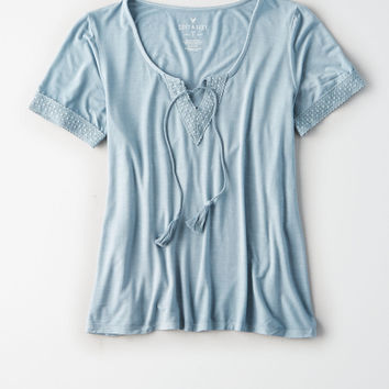 AE SOFT & SEXY TASSEL TIE SHORT SLEEVE T-SHIRT, Blue