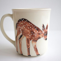 Hand Painted Mug - Fawn - Woodland Animal - Original Painting