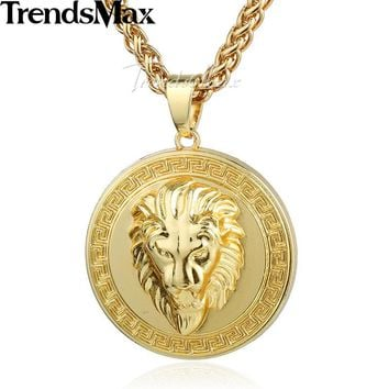 Trendsmax Gold-color Lion Head Chicago Carved Round Necklace Pendant Mens Womens Fashion Jewelry GP71