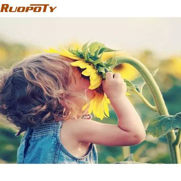 RUOPOTY Framed Girl Flowers DIY Painting By Numbers Acrylic Paint By Numbers Modern Wall Art Picture Canvas Painting Home Gift