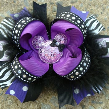 Disney Hair Bow Boutique hair bow Minnie Mouse by MyLuckyHairBow