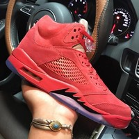 Air Jordan 5 Retro Red Suede 136027-602 V Red Men's Height Increasing Shoes Fashion Shoes Top Quality With Original Box US7-13