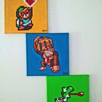 Nintendo 3-Piece Gamer Painting with Controller