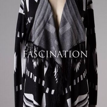 Black and White Fringe Cardigan