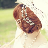 Women Girl Holiday feeling sweety princess style flower rhinestone hair band Headband fashion