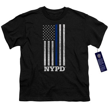 NYPD Kids T-Shirt Thin Blue Line American Flag Black Tee