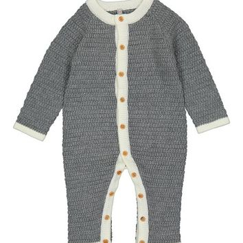 Gray & Crème Trim Knit Romper - Infant