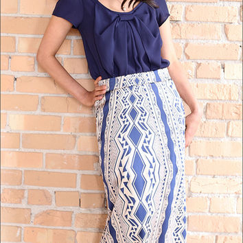 Satin Aztec Maxi Skirt W/Pockets Navy And Gold (Small/Indie Brands)
