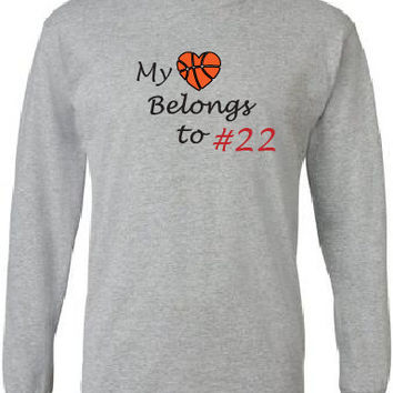 Basketball mom shirt.  Personalized with player's number.  My heart belongs to my player grey long sleeve tee.