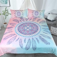 Mandala Pink Feather Bedding Set