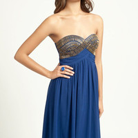 Blue Strapless Maxi Dress with Bead Top Embellishment