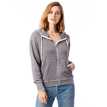 Alternative Apparel - The Fiona Burnout French Terry Full Zip Nickel Hoodie