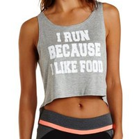 Gray Combo I Like Food Graphic Open Back Tank Top by Charlotte Russe