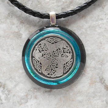 epona horse necklace: blue - mens necklace - celtic jewelry - leather cord - mens jewelry - boyfriend gift - horse jewelry - unique gift